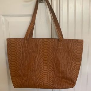 Bloomingdales's Faux Camel Leather Embossed Tote